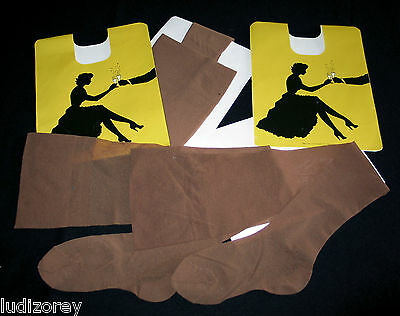 "Lot 2 Paires Bas Pj T 2 Vintage Nylon Mousse ""extra Dry"" Marron Glamour Sexy"