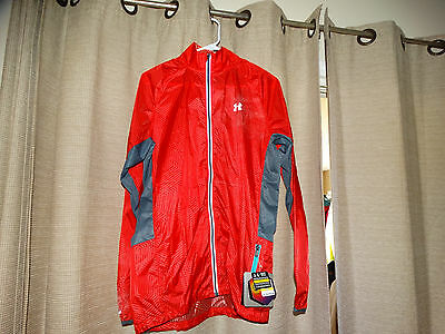 $109 NWT new UNDER ARMOUR mens medium running jacket Storm Fit Infrared red