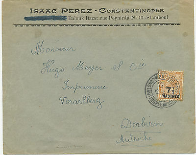 """2135 1921 George V 5 D with overprint """"7 ½ PIASTRES"""" on VF cover CONSTANTINOPLE"""