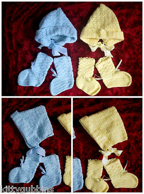 ~ Sweet Vintage 1940's Pattern Hand Knitted Bonnets & Booties Age 0 - 3 Months ~