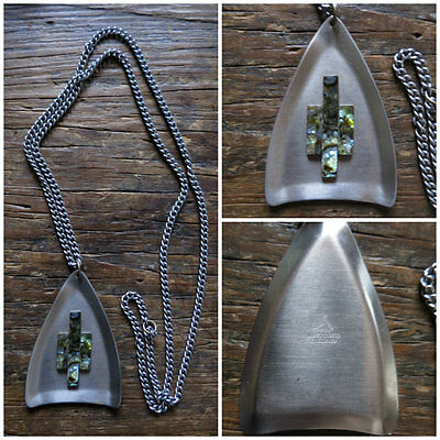 Peak Vintage 1970S Modernist Stainless Steel Silver Tone Chain Pendent Necklace