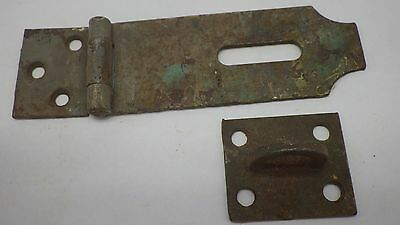 Vintage Antique Hinged Hasp Latch Lock Gate Door Barn w Keeper Eye Rusty #12