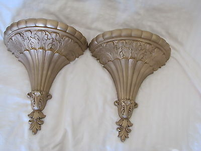 """Pair (2) Vintage Home Interior Homco Gold Wall Planters/Hangings. 14"""" Tall"""