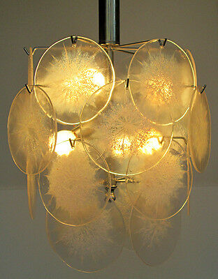 1960 Italian vintage chandelier with 22 Sun disks of Murano glass Vistosi sun