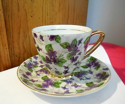 NAPCO Hand Painted Chinz Cup & Saucer - Purple Violets