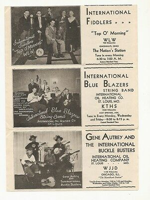 Advertising strip country music International Oil with Gene Autry early 1930s