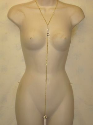 Gold Tone  Chain Necklace  W/ /intimate Non Piercing Body Hood Clip Attached