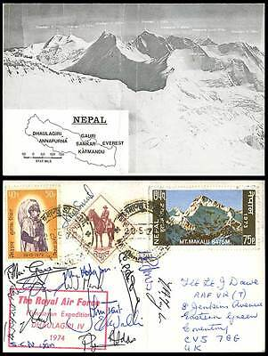 Nepal MAP Royal Air Force Dhaulagiri Expedition Mountaineer Signed 1974 Postcard