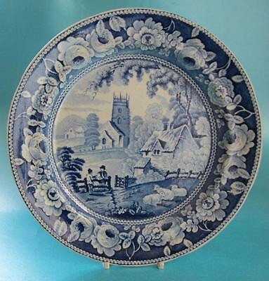 Antique Pearlware Blue and White Transfer Printed Plate Farmer Sheep Church