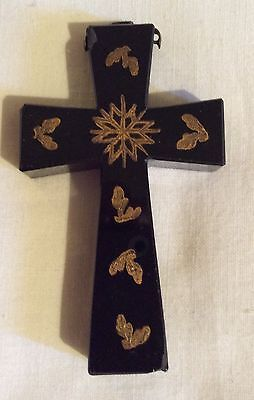 Antique Victorian Mourning black glass Cross Crucifix Pendant with Gold Gilt
