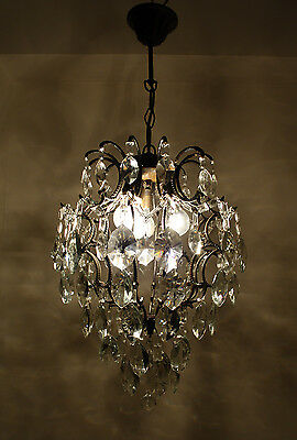Antique Cage Style Brass & Crystals Chandelier from 1950's