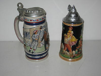 1984 Beer Stein with pewter lid celebrating Baseball Avon & Western Germany