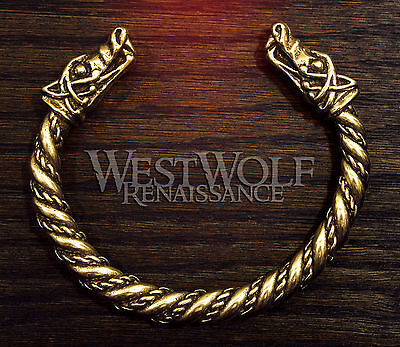 Gold Viking Wolf Head Bracelet - Norse/Medieval/Bronze/Jewelry/Torc/Bangle