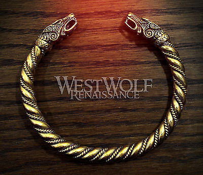 Gold Viking Wolf Head Bracelet --- Norse/Celtic/Medieval/Bronze/Jewelry/Torc