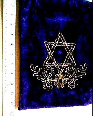Vintage Tallit Teffilin Bag, Purple with Gold Lettering Star of David. Judaica