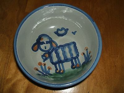 Ma Hadley Pottery Country Scene Blue Lamb Cereal Bowl