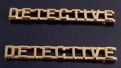 """2 DETECTIVE 1/4"""" Gold Letters Uniform/Collar Pins Insignia police/sheriff USA!"""