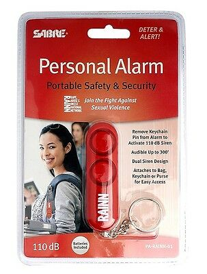 Sabre PA-RAINN-01 Red Portable Safety & Security Personal Alarm w/ Key Chain