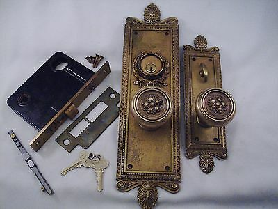 Antique Corbin Cast Bronze Door Knob Entrance Set Cylinder Thumb Turn #657
