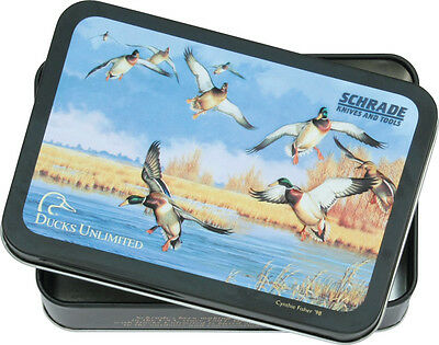 """Schrade SULD Ducks Unlimited Tin Measures 4"""" X 5 3/4"""" X 1 3/8 Colorful Ducks"""