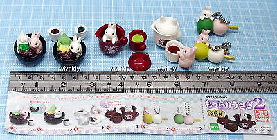 Miniatures Rabbit With Japanese Sweets 2  Figure 6 pcs - Epoch Gashapon  , h#2