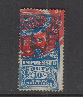 QUEENSLAND 1920 10/- Blue GV IMPRESSED DUTY -Revenue- FU