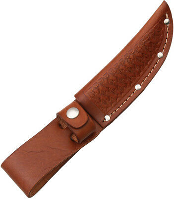 """Sheath SH1133 Straight Knife Brown Basketweave Leather Fits Up To 4"""" Blade"""