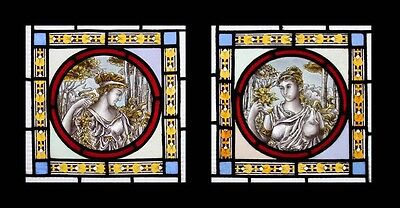 Rare Stunning Antique Pre-Raphaelite Maidens Painted Stained Glass Windows