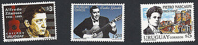 URUGUAY - MUSIC Tango Music Singers Lot 3 Stamps *MNH*