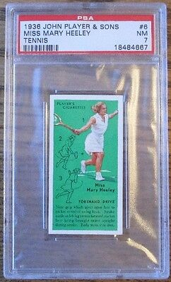 PSA 7 1936 JOHN PLAYER & SONS MISS MARY HEELEY TENNIS CARD Players Cigarettes