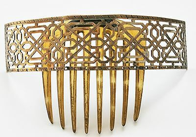 Antique Victorian / Edwardian Hair Comb / Hair Combs - Silver Plate With Horn.