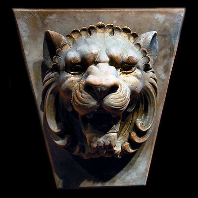 Roman Key - Lion Head plaque Wall Relief Sculpture