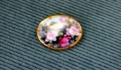 Antique Victorian Hand Painted Oval Pin Brooch Lotus Flowers Lily Pads Brass