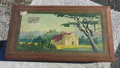 Antique California Yosemite Fruits Wooden Crate Box Advertising W/ Litho Label