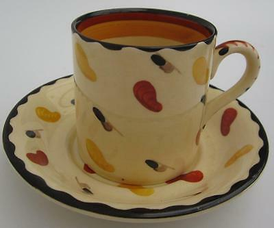 Susie Cooper Scarlet Runner Beans Pattern Cup and Saucer Rare  Art Deco (d)