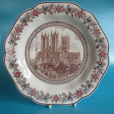 LNER Railway Plate  Lincoln Cathedral Wedgwood Queensware 1930s Vintage