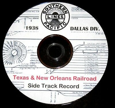 Texas & New Orleans T&NO 1938 Dallas Division Side Track Record Pages on DVD