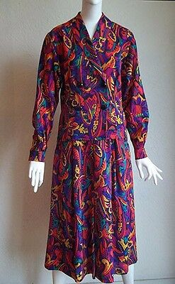 Vintage 80s JAEGER Paisley Wool Challis 2Pc DRESS Midi Skirt Shirt Jacket 6 XS
