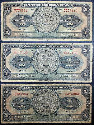 1943, 1945, & 1948 Mexico 1 Peso Banknotes (P-39a, c, d) - Free Combined S/H