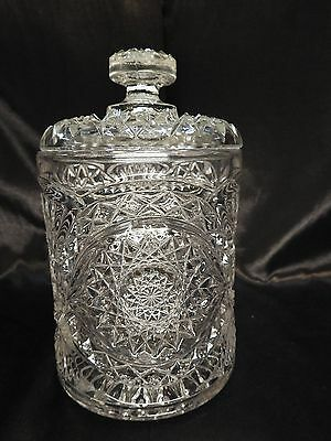Americana Biscuit Jar/ Biscuit Barrel Hobstar-Clear Imperial Glass - Ohio