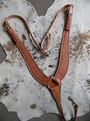 Premium Basketweave Tool Leather U.S. Made Pulling Breast Collar New Horse Tack