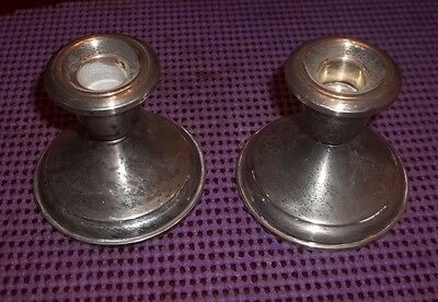 "2 Vintage Sterling Silver Weighted Crown Candle Holders  2 3/4"" Tall"