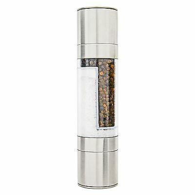 2 In 1 Dual Stainless Steel Salt & Pepper Combo Grinder Mill Shaker Herbs Spices