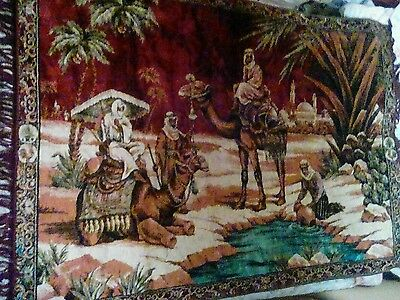 "Antique / vintage wall hanging / rug - travellers camels LARGE 47"" x 70"" ex con"