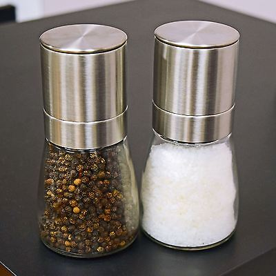 Salt & Pepper Grinder 2pc Set Spice Herp Glass Muller Hand Mill Grinding Bottle