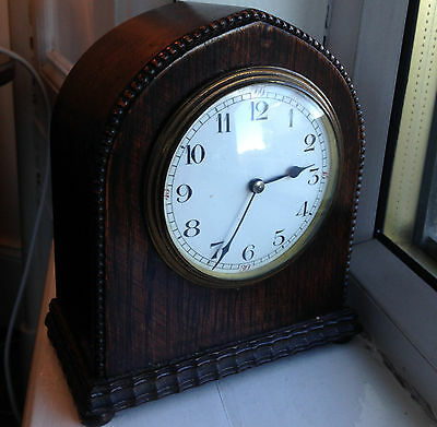 Beautiful Early 20th Century Stained Oak Mantel Clock of Small Proportions