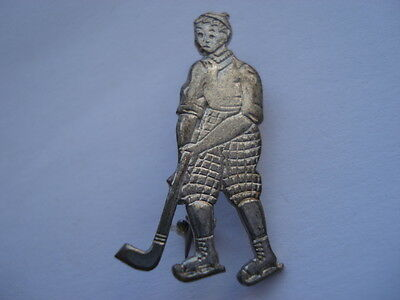 C1920S Vintage Ice Hockey Player Character Pin Badge