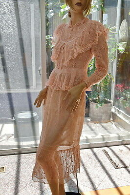 Lim's Vintage Victorian Style All Hand Made Hand Crochet Top & Skirt Set L Pink