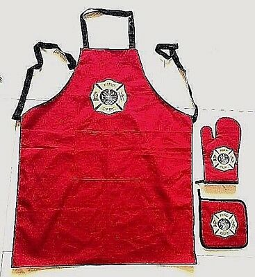 KITCHEN APRON Gift Set. Apron,oven mitt, and pot holder for a FIREFIGHTER'S HOME