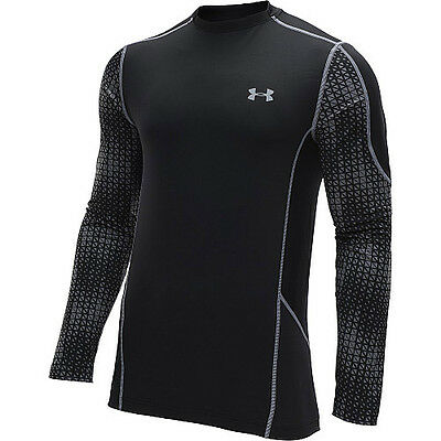 under armour ua mens evo coldgear fitted hybrid long sleeve shirt black steel